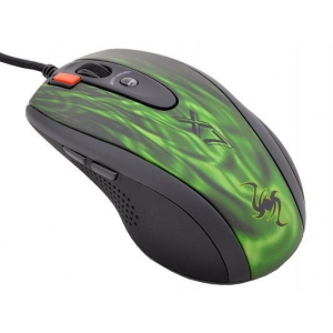 Мышь проводная A4tech XL-750BK green/black